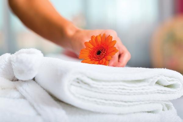 asciugamani e fiore arancione
